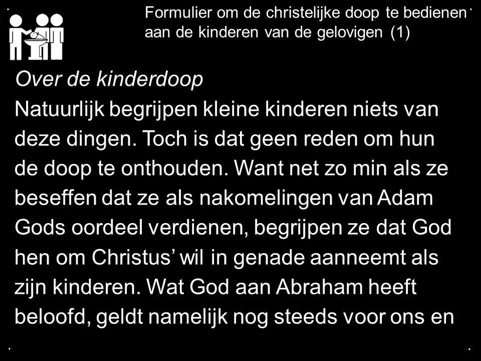 .... Formulier om de christelijke doop te bedienen aan de kinderen van de gelovigen (1) Over de kinderdoop Natuurlijk begrijpen kleine kinderen niets