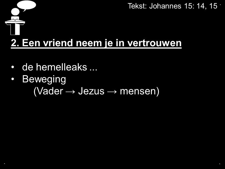 Tekst: Johannes 15: 14, 15...2. Een vriend neem je in vertrouwen de hemelleaks...