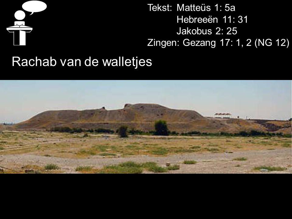Tekst: Matteüs 1: 5a Hebreeën 11: 31 Jakobus 2: 25 Zingen: Gezang 17: 1, 2 (NG 12) Rachab van de walletjes