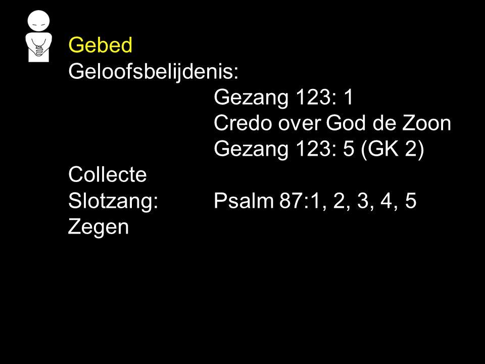 Gebed Geloofsbelijdenis: Gezang 123: 1 Credo over God de Zoon Gezang 123: 5 (GK 2) Collecte Slotzang: Psalm 87:1, 2, 3, 4, 5 Zegen