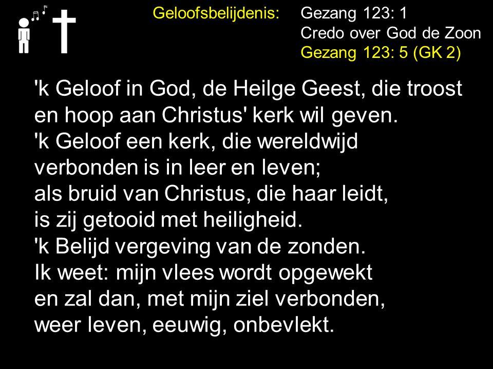 Geloofsbelijdenis: Gezang 123: 1 Credo over God de Zoon Gezang 123: 5 (GK 2) 'k Geloof in God, de Heilge Geest, die troost en hoop aan Christus' kerk