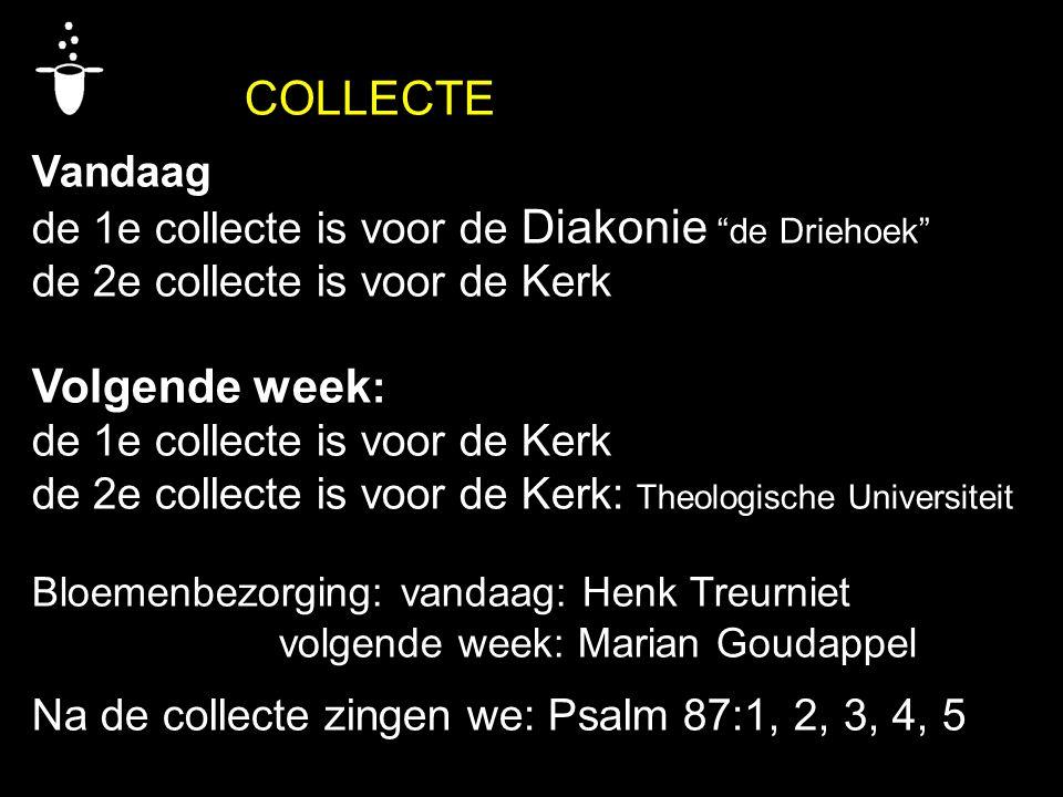 """COLLECTE Vandaag de 1e collecte is voor de Diakonie """"de Driehoek"""" de 2e collecte is voor de Kerk Volgende week : de 1e collecte is voor de Kerk de 2e"""
