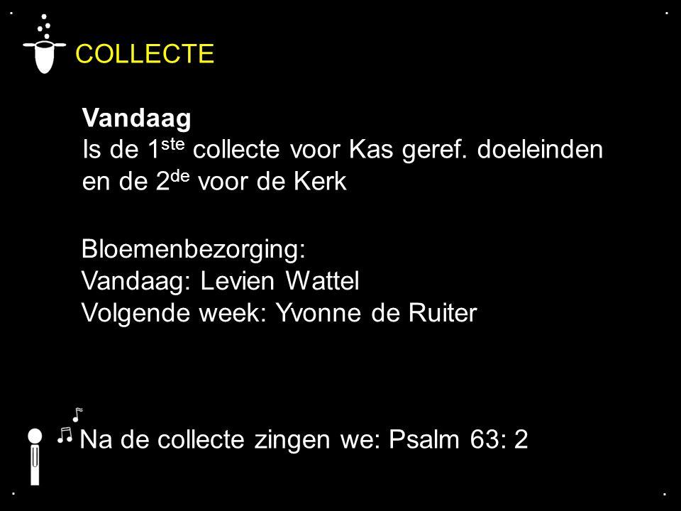 .... COLLECTE Vandaag Is de 1 ste collecte voor Kas geref. doeleinden en de 2 de voor de Kerk Bloemenbezorging: Vandaag: Levien Wattel Volgende week: