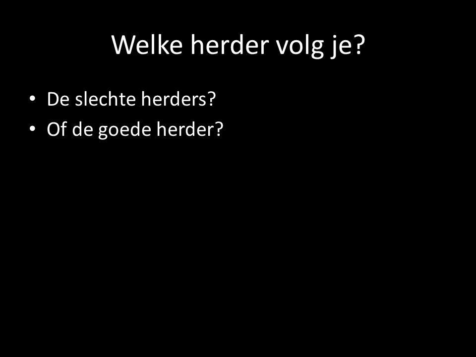 Welke herder volg je? De slechte herders? Of de goede herder?