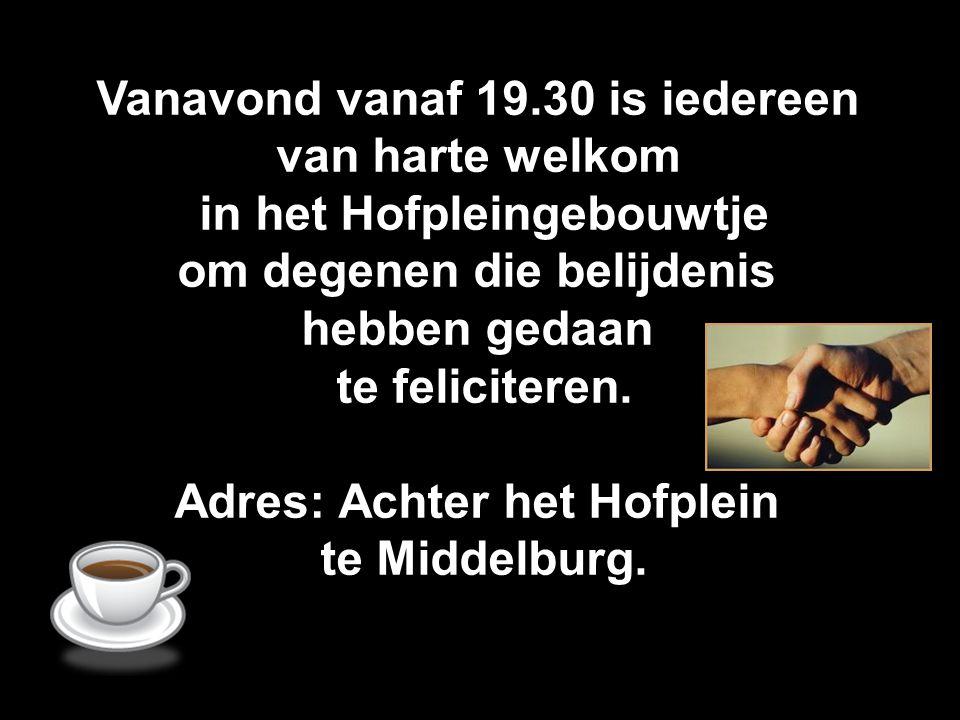 Vanavond vanaf 19.30 is iedereen van harte welkom in het Hofpleingebouwtje om degenen die belijdenis hebben gedaan te feliciteren. Adres: Achter het H