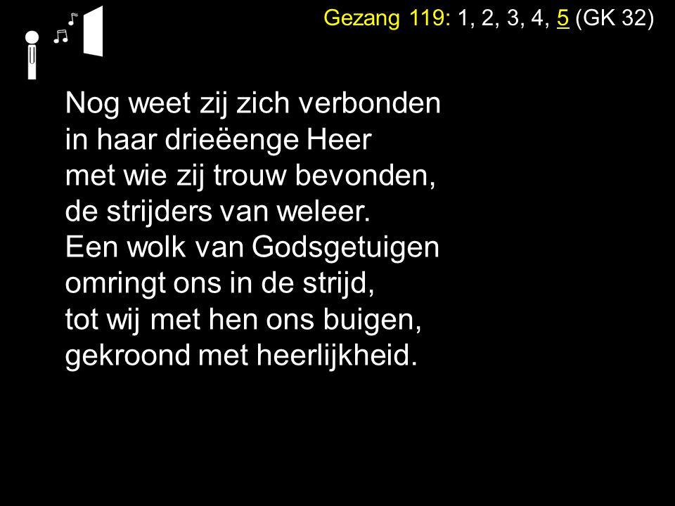 Gezang 119: 1, 2, 3, 4, 5 (GK 32) Nog weet zij zich verbonden in haar drieëenge Heer met wie zij trouw bevonden, de strijders van weleer. Een wolk van