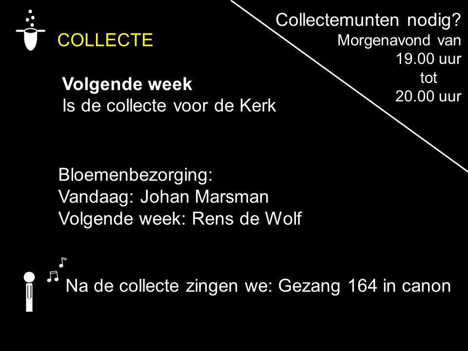 COLLECTE Volgende week Is de collecte voor de Kerk Na de collecte zingen we: Gezang 164 in canon Bloemenbezorging: Vandaag: Johan Marsman Volgende wee