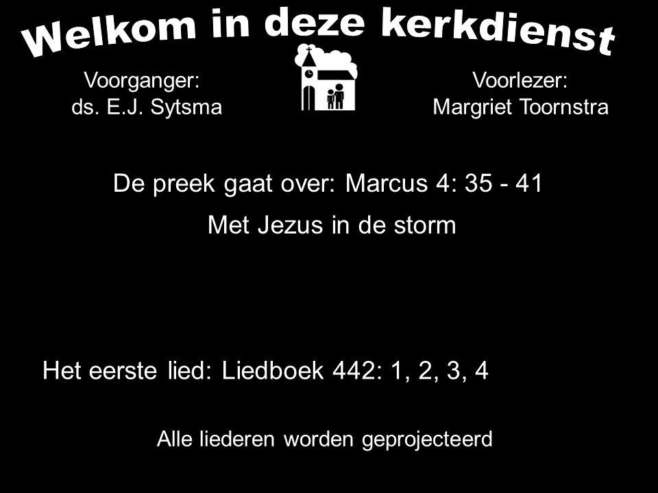 De preek gaat over: Marcus 4: 35 - 41 Met Jezus in de storm Alle liederen worden geprojecteerd Voorlezer: Margriet Toornstra Het eerste lied: Liedboek 442: 1, 2, 3, 4 Voorganger: ds.