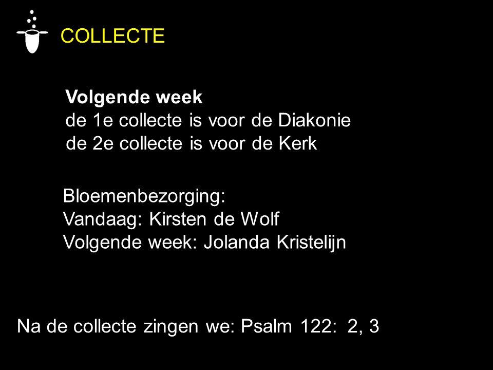 COLLECTE Volgende week de 1e collecte is voor de Diakonie de 2e collecte is voor de Kerk Bloemenbezorging: Vandaag: Kirsten de Wolf Volgende week: Jol