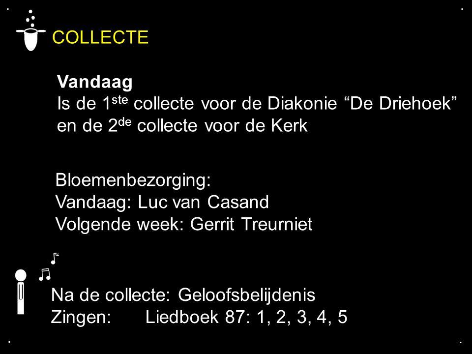 """.... COLLECTE Vandaag Is de 1 ste collecte voor de Diakonie """"De Driehoek"""" en de 2 de collecte voor de Kerk Na de collecte: Geloofsbelijdenis Zingen: L"""