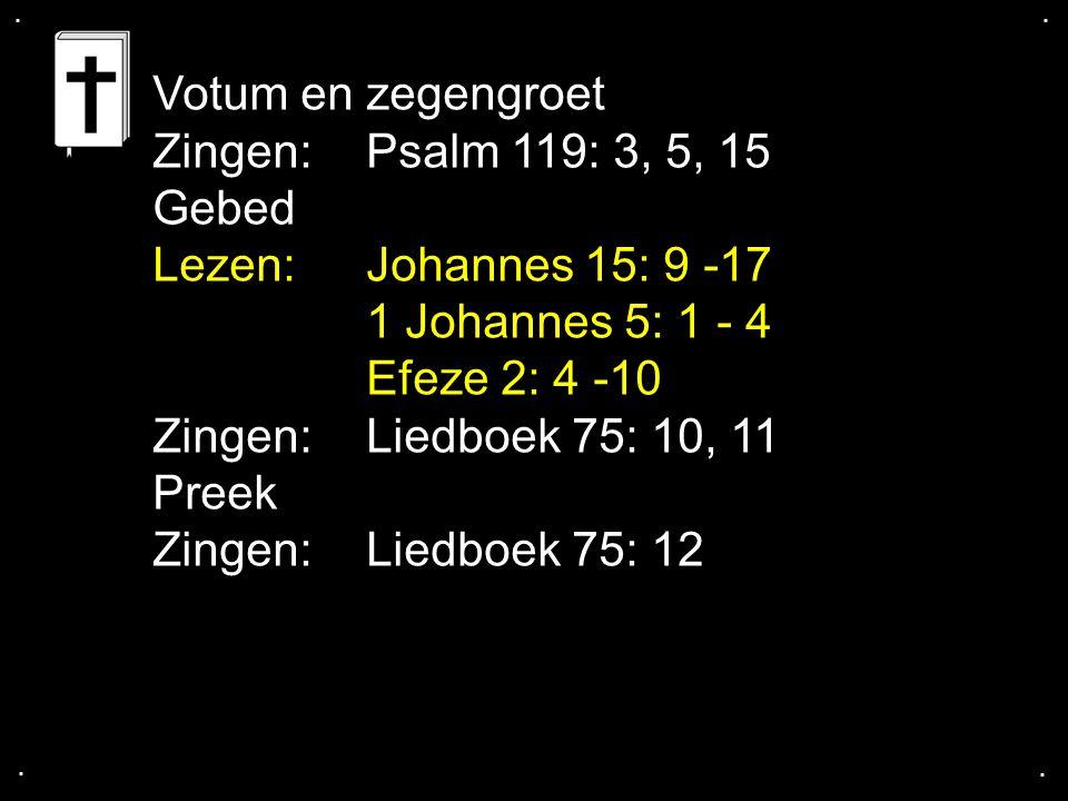 .... Votum en zegengroet Zingen: Psalm 119: 3, 5, 15 Gebed Lezen: Johannes 15: 9 -17 1 Johannes 5: 1 - 4 Efeze 2: 4 -10 Zingen: Liedboek 75: 10, 11 Pr