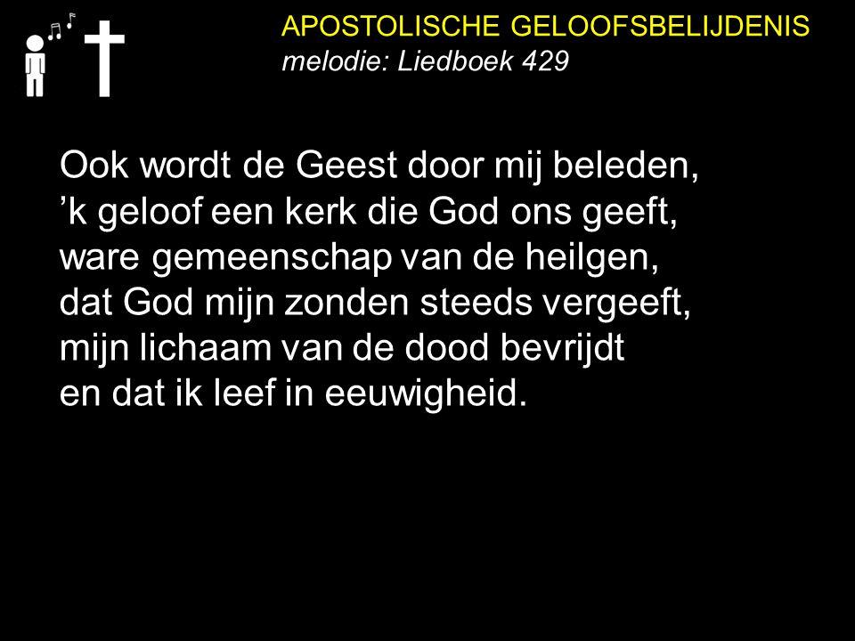 APOSTOLISCHE GELOOFSBELIJDENIS melodie: Liedboek 429 Ook wordt de Geest door mij beleden, 'k geloof een kerk die God ons geeft, ware gemeenschap van d