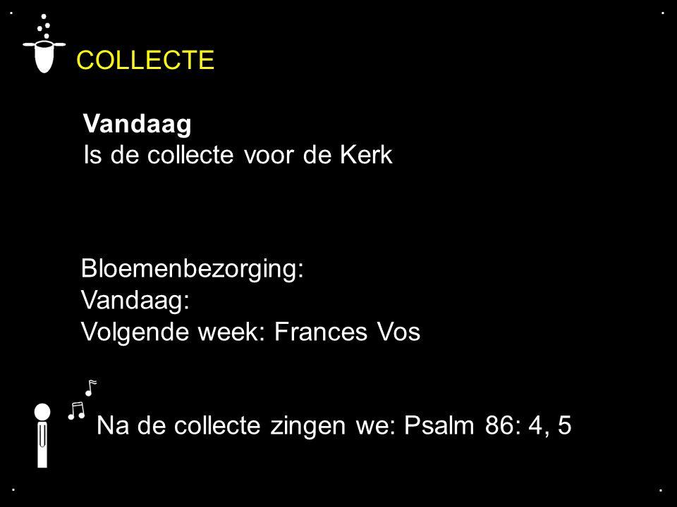 COLLECTE Vandaag Is de collecte voor de Kerk.... Na de collecte zingen we: Psalm 86: 4, 5 Bloemenbezorging: Vandaag: Volgende week: Frances Vos