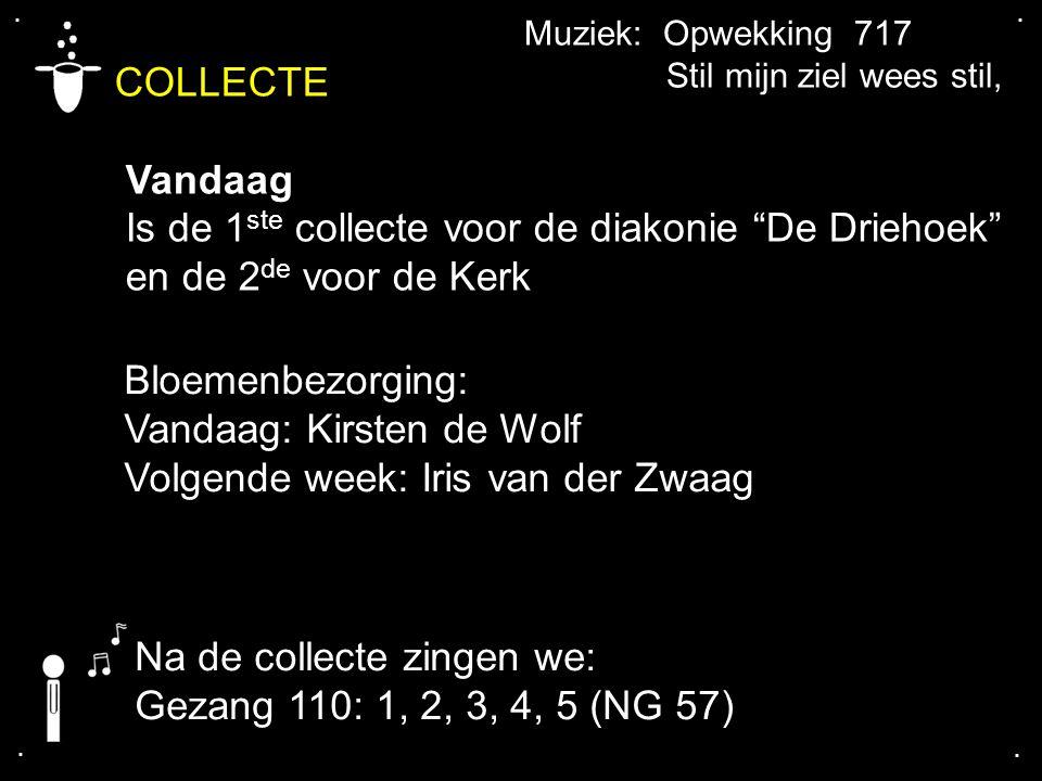 """.... COLLECTE Vandaag Is de 1 ste collecte voor de diakonie """"De Driehoek"""" en de 2 de voor de Kerk Bloemenbezorging: Vandaag: Kirsten de Wolf Volgende"""