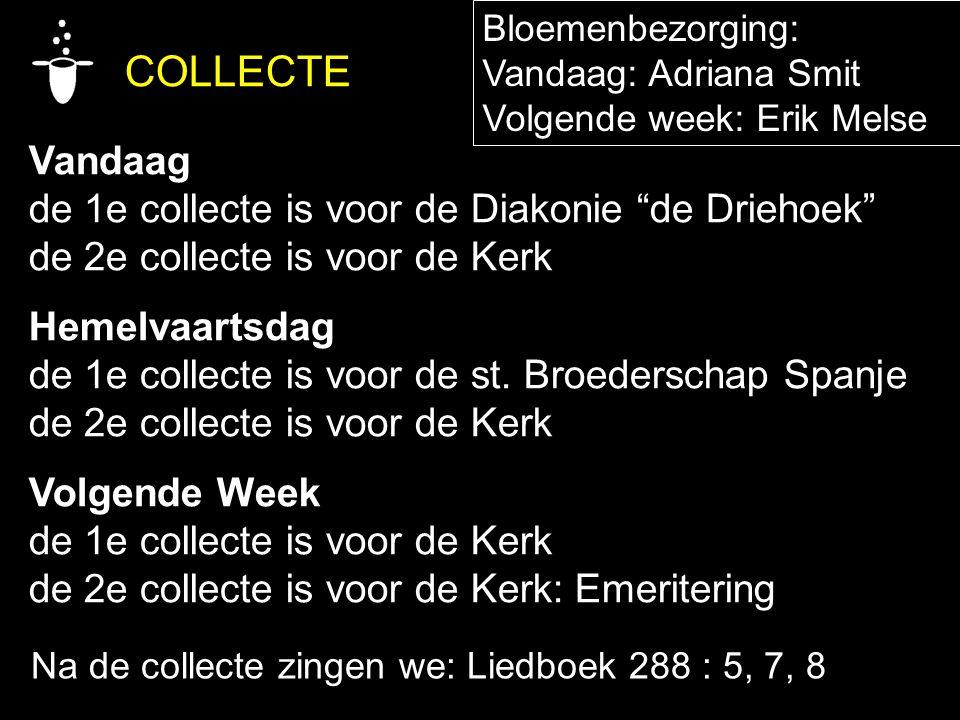 """COLLECTE Vandaag de 1e collecte is voor de Diakonie """"de Driehoek"""" de 2e collecte is voor de Kerk Hemelvaartsdag de 1e collecte is voor de st. Broeders"""