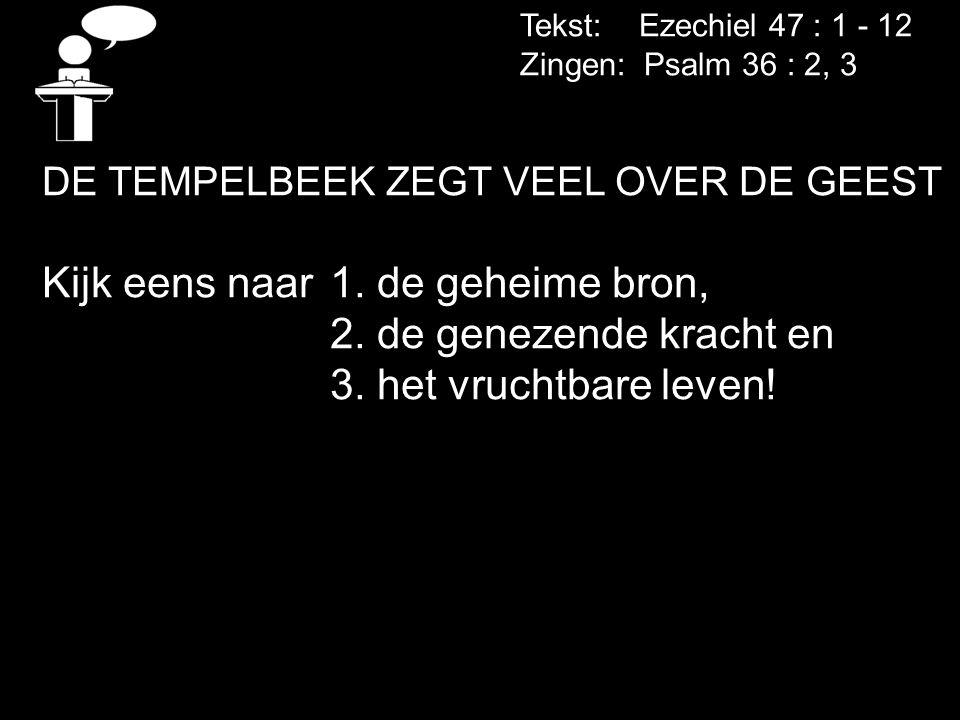 Tekst: Ezechiel 47 : 1 - 12 Zingen: Psalm 36 : 2, 3 DE TEMPELBEEK ZEGT VEEL OVER DE GEEST Kijk eens naar1. de geheime bron, 2. de genezende kracht en