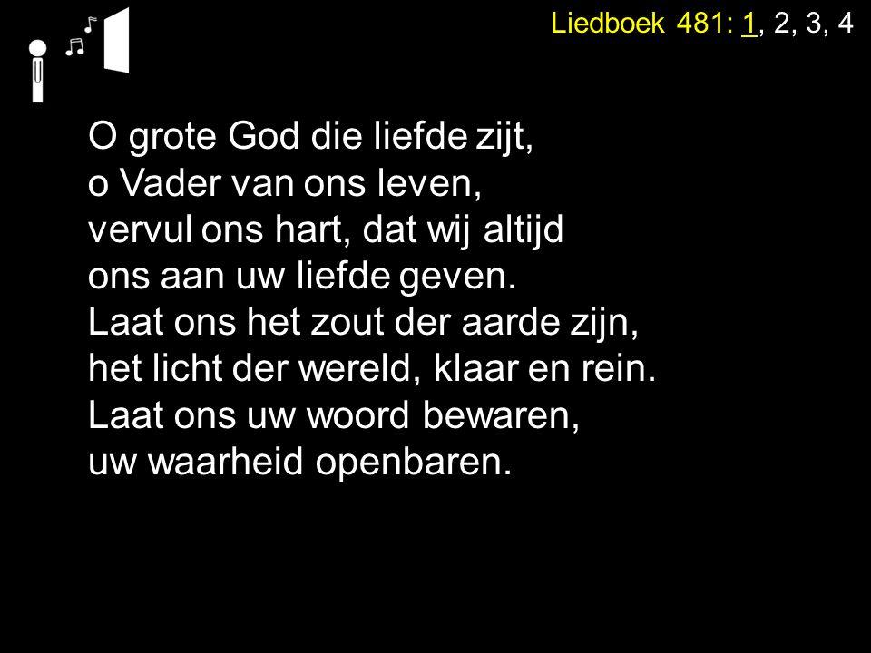 Liedboek 481: 1, 2, 3, 4 O grote God die liefde zijt, o Vader van ons leven, vervul ons hart, dat wij altijd ons aan uw liefde geven. Laat ons het zou