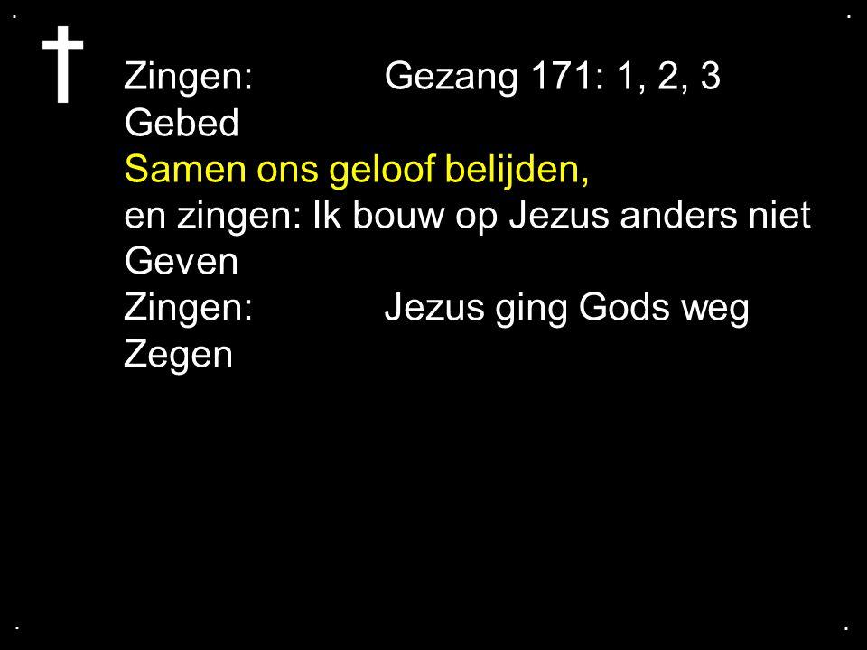 .... Zingen: Gezang 171: 1, 2, 3 Gebed Samen ons geloof belijden, en zingen: Ik bouw op Jezus anders niet Geven Zingen: Jezus ging Gods weg Zegen