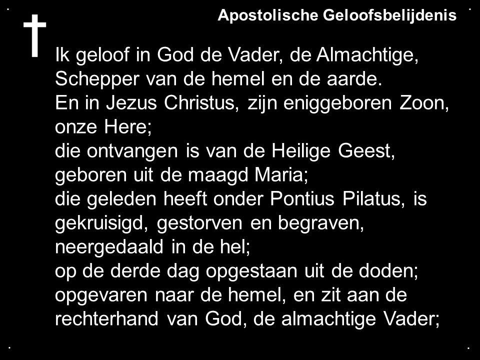 ....Ik geloof in God de Vader, de Almachtige, Schepper van de hemel en de aarde.
