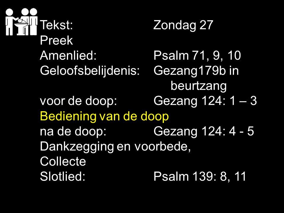 Tekst:Zondag 27 Preek Amenlied:Psalm 71, 9, 10 Geloofsbelijdenis:Gezang179b in beurtzang voor de doop:Gezang 124: 1 – 3 Bediening van de doop na de do