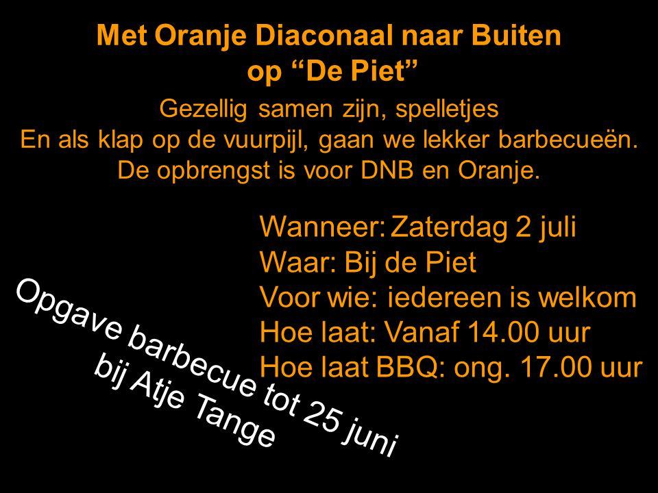 """Met Oranje Diaconaal naar Buiten op """"De Piet"""" Wanneer:Zaterdag 2 juli Waar: Bij de Piet Voor wie: iedereen is welkom Hoe laat: Vanaf 14.00 uur Hoe laa"""
