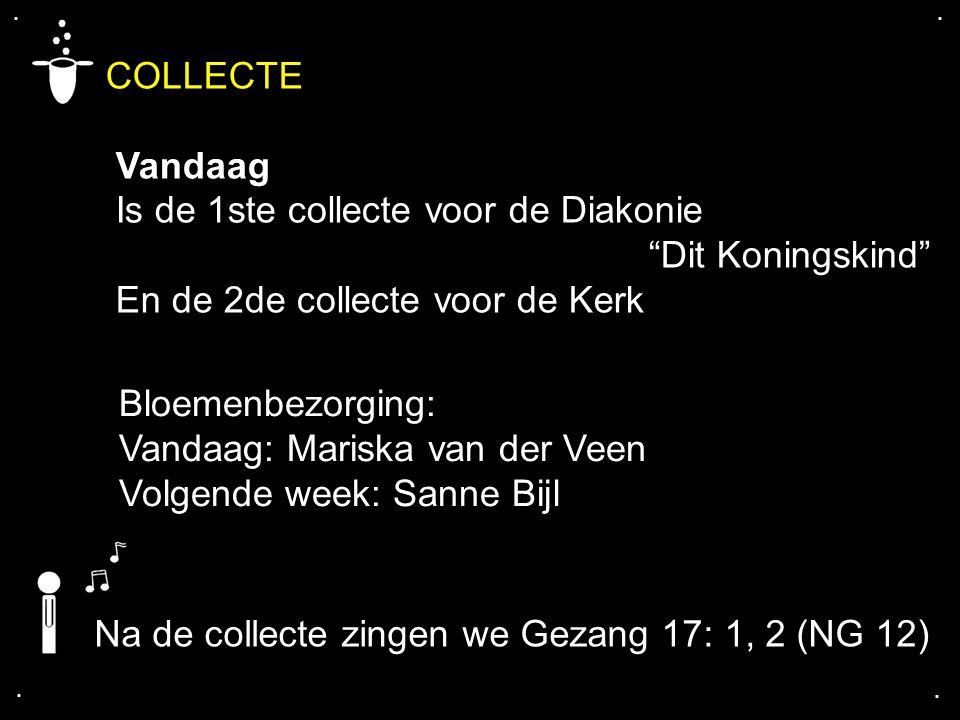 """.... COLLECTE Vandaag Is de 1ste collecte voor de Diakonie """"Dit Koningskind"""" En de 2de collecte voor de Kerk Bloemenbezorging: Vandaag: Mariska van de"""
