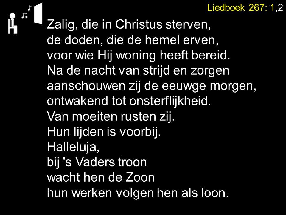Liedboek 267: 1,2 Zalig, die in Christus sterven, de doden, die de hemel erven, voor wie Hij woning heeft bereid. Na de nacht van strijd en zorgen aan