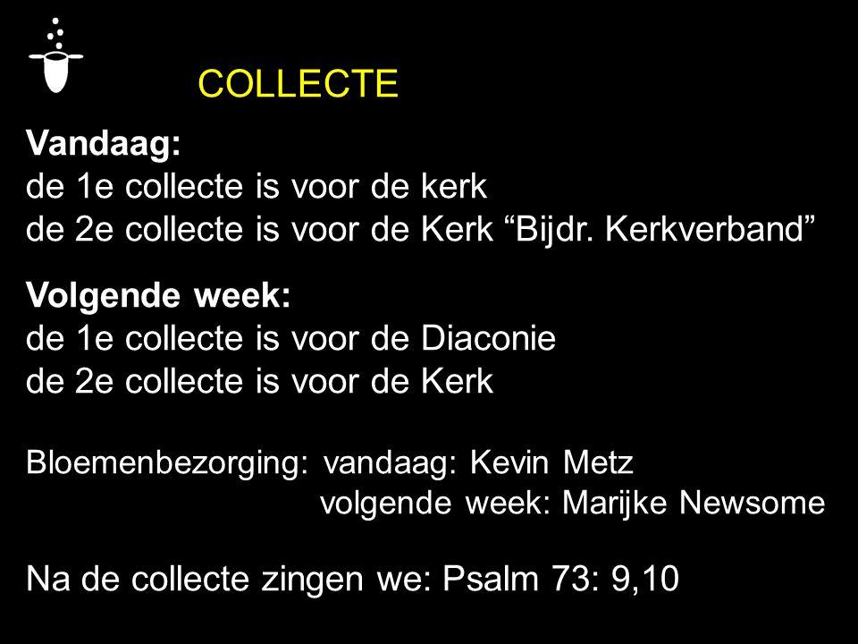 COLLECTE Vandaag: de 1e collecte is voor de kerk de 2e collecte is voor de Kerk Bijdr.