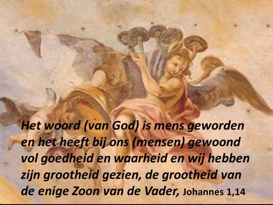 Het woord (van God) is mens geworden en het heeft bij ons (mensen) gewoond vol goedheid en waarheid en wij hebben zijn grootheid gezien, de grootheid