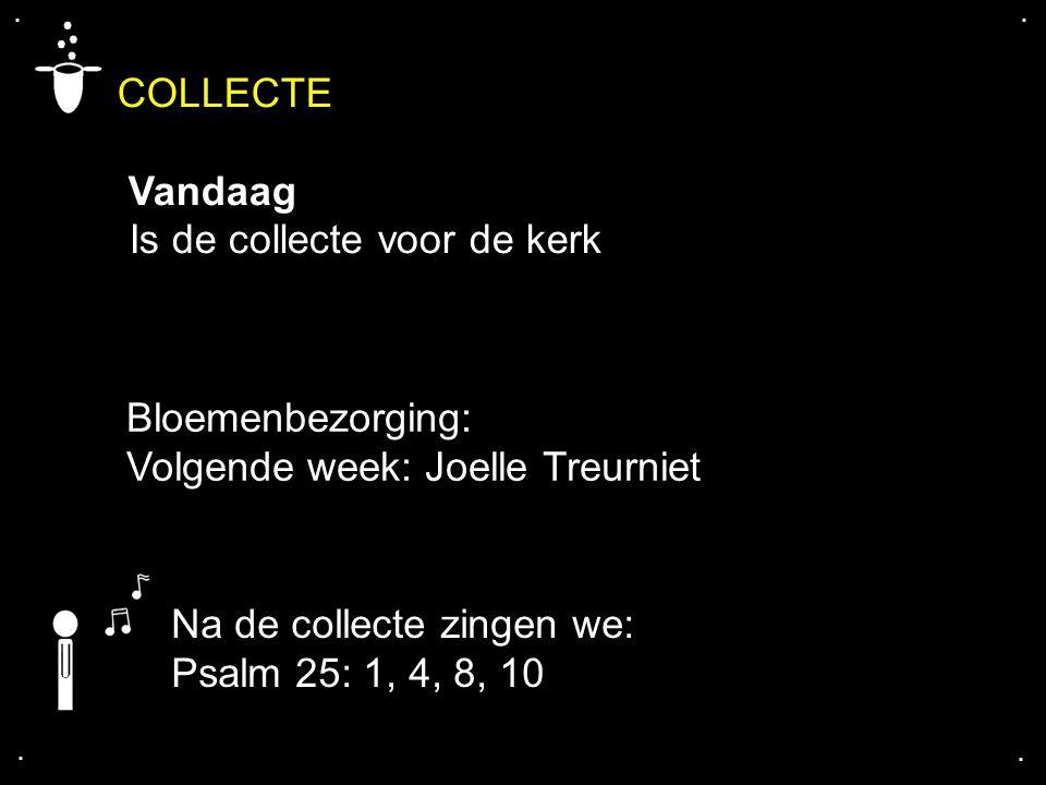 COLLECTE Vandaag Is de collecte voor de kerk.... Na de collecte zingen we: Psalm 25: 1, 4, 8, 10 Bloemenbezorging: Volgende week: Joelle Treurniet
