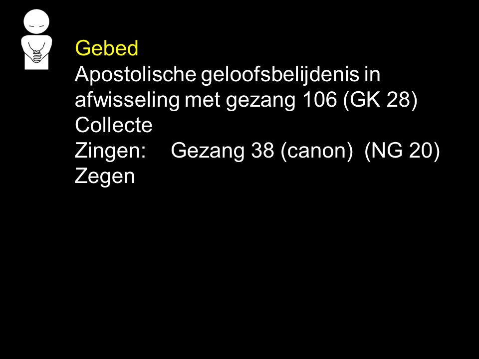 Gebed Apostolische geloofsbelijdenis in afwisseling met gezang 106 (GK 28) Collecte Zingen:Gezang 38 (canon) (NG 20) Zegen