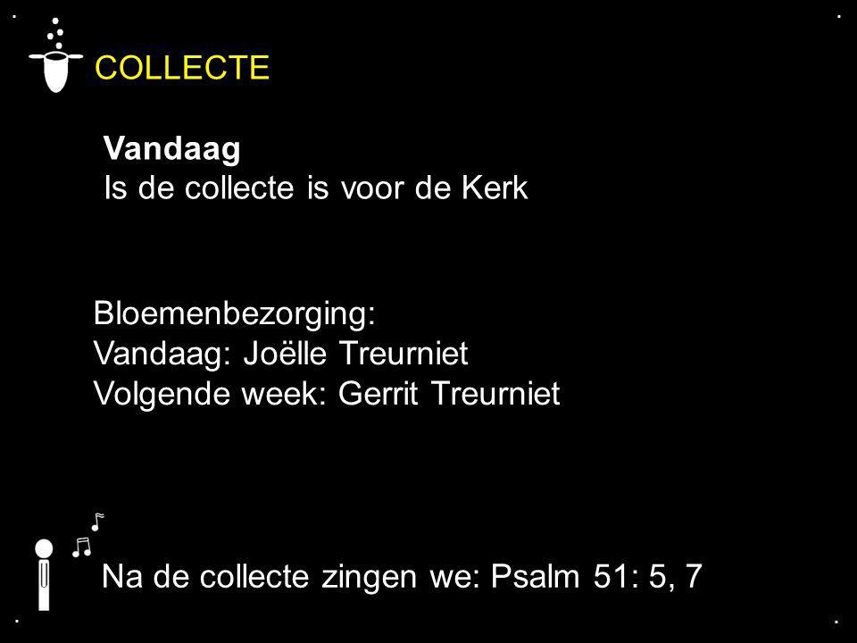 .... COLLECTE Vandaag Is de collecte is voor de Kerk Bloemenbezorging: Vandaag: Joëlle Treurniet Volgende week: Gerrit Treurniet Na de collecte zingen