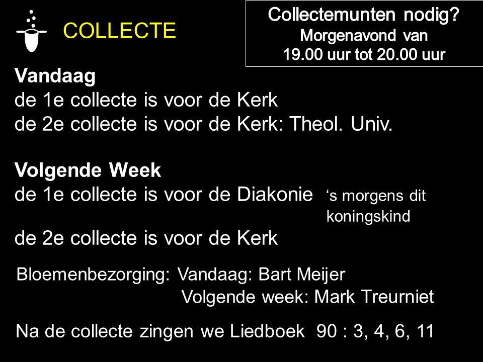 COLLECTE Vandaag de 1e collecte is voor de Kerk de 2e collecte is voor de Kerk: Theol.