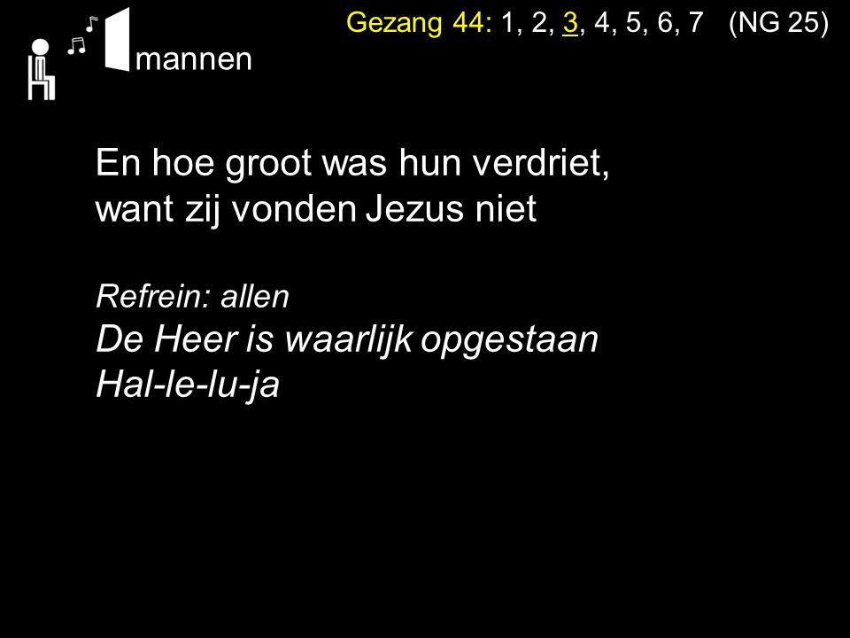 Gezang 44: 1, 2, 3, 4, 5, 6, 7 (NG 25) En hoe groot was hun verdriet, want zij vonden Jezus niet. Refrein: allen De Heer is waarlijk opgestaan Hal-le-