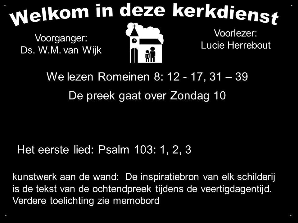 We lezen Romeinen 8: 12 - 17, 31 – 39 De preek gaat over Zondag 10 Het eerste lied: Psalm 103: 1, 2, 3 Voorganger: Ds. W.M. van Wijk kunstwerk aan de