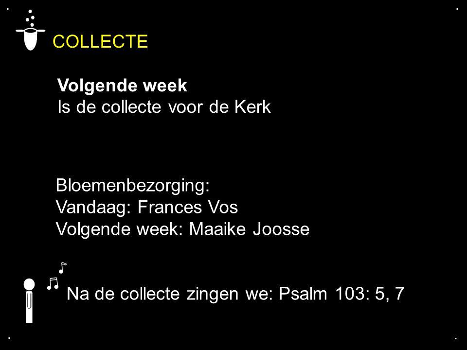COLLECTE Volgende week Is de collecte voor de Kerk.... Bloemenbezorging: Vandaag: Frances Vos Volgende week: Maaike Joosse Na de collecte zingen we: P