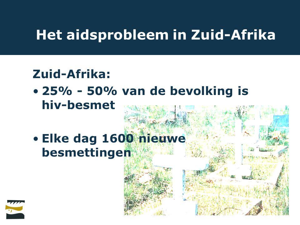 Het aidsprobleem in Zuid-Afrika Zuid-Afrika: 25% - 50% van de bevolking is hiv-besmet Elke dag 1600 nieuwe besmettingen