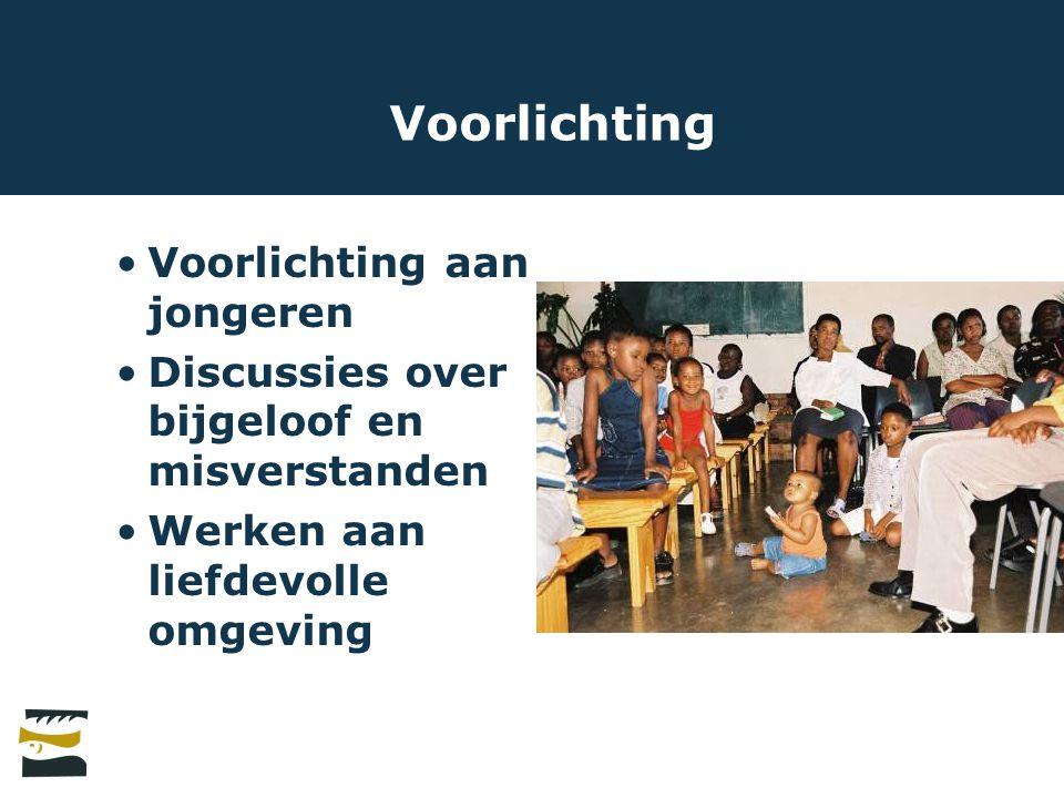 Voorlichting Voorlichting aan jongeren Discussies over bijgeloof en misverstanden Werken aan liefdevolle omgeving