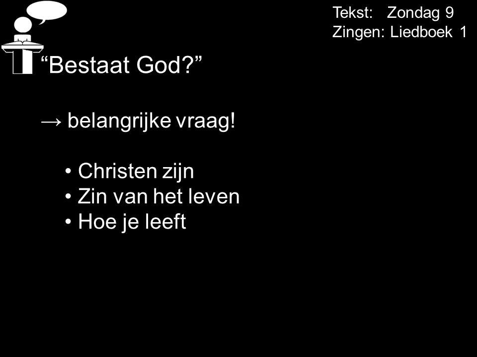 Tekst: Zondag 9 Zingen: Liedboek 1 Bestaat God? → belangrijke vraag.