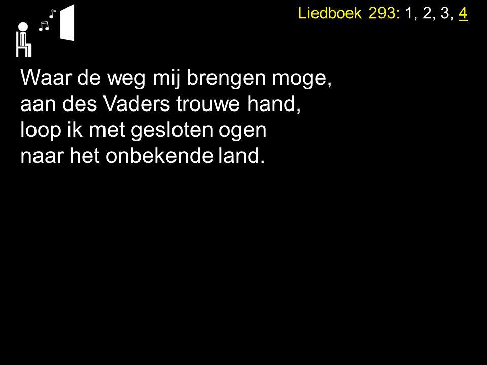 Liedboek 293: 1, 2, 3, 4 Waar de weg mij brengen moge, aan des Vaders trouwe hand, loop ik met gesloten ogen naar het onbekende land.