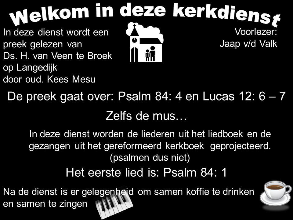 De preek gaat over: Psalm 84: 4 en Lucas 12: 6 – 7 Zelfs de mus… Het eerste lied is: Psalm 84: 1 In deze dienst worden de liederen uit het liedboek en de gezangen uit het gereformeerd kerkboek geprojecteerd.