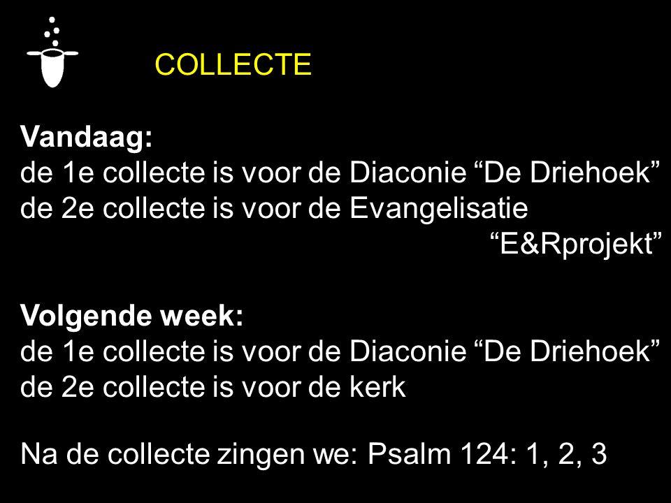 COLLECTE Vandaag: de 1e collecte is voor de Diaconie De Driehoek de 2e collecte is voor de Evangelisatie E&Rprojekt Volgende week: de 1e collecte is voor de Diaconie De Driehoek de 2e collecte is voor de kerk Na de collecte zingen we: Psalm 124: 1, 2, 3