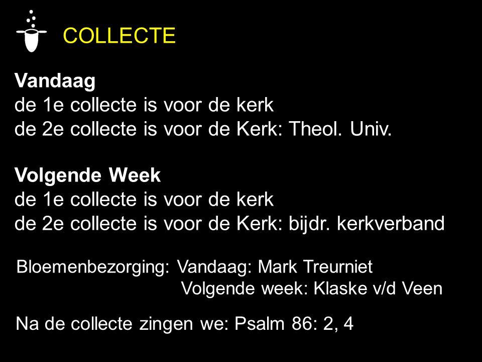 COLLECTE Vandaag de 1e collecte is voor de kerk de 2e collecte is voor de Kerk: Theol. Univ. Volgende Week de 1e collecte is voor de kerk de 2e collec