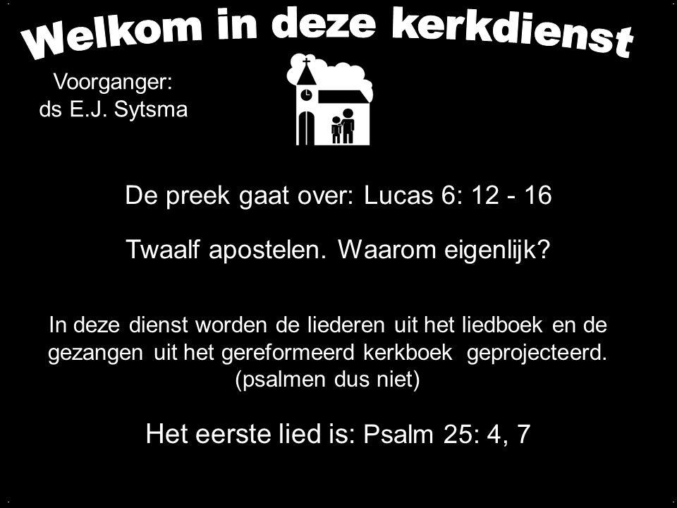 De preek gaat over: Lucas 6: 12 - 16 Twaalf apostelen. Waarom eigenlijk? Het eerste lied is: Psalm 25: 4, 7 In deze dienst worden de liederen uit het