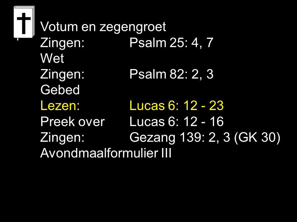 Viering: Liedboek 360: 1, 2, 3 Gezang 64: 1, 2, 3, 4 (NG 37) Gezang 139: 4, 5, 6 (GK 30) Heer, wij komen vol verlangen, op uw roepstem naar uw dis, want door schuld met schrik bevangen zoekt ons hart vergiffenis: slechts in U bestaat ons leven, die uw bloed voor ons woudt geven; laat ons dan in brood en wijn met Uzelf gespijzigd zijn.