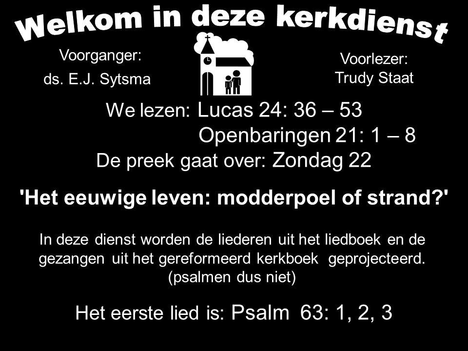 We lezen: Lucas 24: 36 – 53 Openbaringen 21: 1 – 8 De preek gaat over: Zondag 22 'Het eeuwige leven: modderpoel of strand?' Het eerste lied is: Psalm