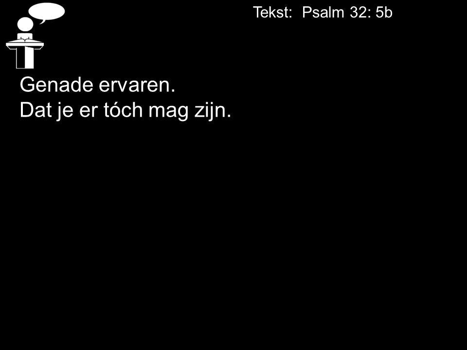 Tekst: Psalm 32: 5b Genade ervaren. Dat je er tóch mag zijn.