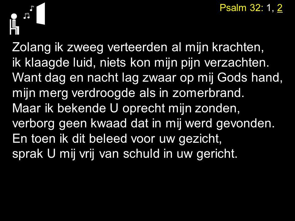 Psalm 32: 1, 2 Zolang ik zweeg verteerden al mijn krachten, ik klaagde luid, niets kon mijn pijn verzachten. Want dag en nacht lag zwaar op mij Gods h