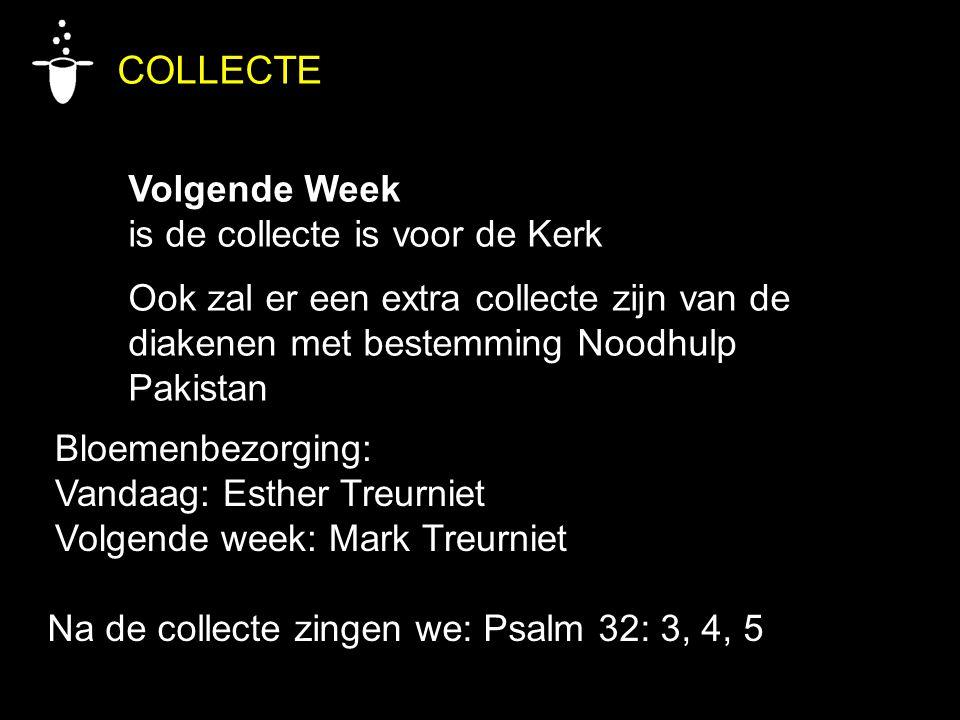 Bloemenbezorging: Vandaag: Esther Treurniet Volgende week: Mark Treurniet COLLECTE Volgende Week is de collecte is voor de Kerk Ook zal er een extra c