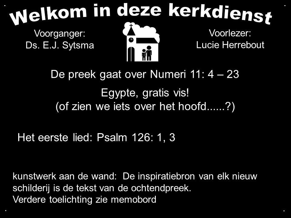 De preek gaat over Numeri 11: 4 – 23 Egypte, gratis vis! (of zien we iets over het hoofd......?) Het eerste lied: Psalm 126: 1, 3 Voorganger: Ds. E.J.